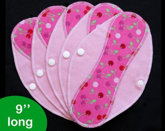 Pantyliners 9'' - Cherries - Washable - Reusable coth pads - Eco-friendly