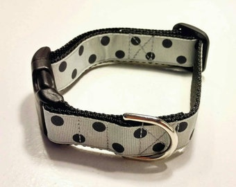 "Ready To Ship 1"" Dog Collar Gray with Black Polka Dots"