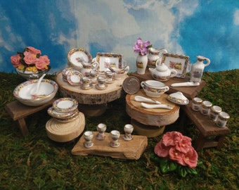 Complete China Set for Fairy Garden or Doll House Kitchen Miniatures