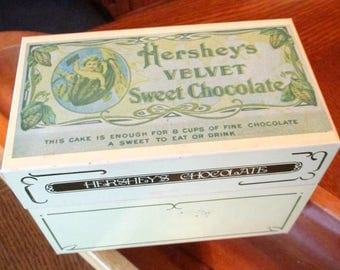Vintage Hershey's recipe box metal tin chocolate yellow green brown 16 recipes retro kitchen decor storage container recipes collectible