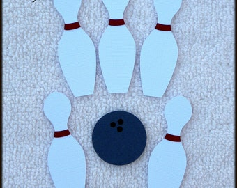 Die Cut Bowling Pins & Bowling Ball Scrapbook Page Embellishments for Card Making Scrapbook or Paper Crafts