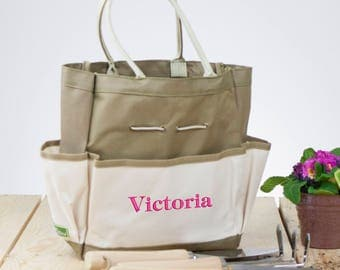 Embroidered Garden Tool Tote Bag, Gardening Gift, Tote Bag, Her, Garden Tote