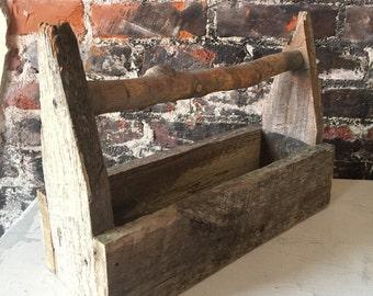 Vintage Barnwood Farmhouse centerpiece Tool Carrier Table Shabby Chic Rustic