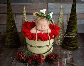 Baby Boy Hat, Baby Girl Hat, Crochet Reindeer Hat, Crochet Christmas Hat, NEWBORN,   Photography Prop, Hat, Baby Beanie, Santa