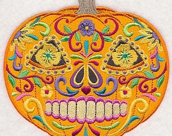 Calavera Skull Pumpkin Mexican Culture Dia De Los Muertos Sugar Skull Embroidered Flour Sack Hand Towel