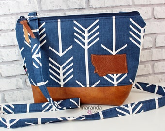 BRI Large Messenger Bag Navy Arrows with Montana Patch - READY to SHIP