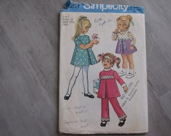 Vintage 1970 Child Inverted Pleat Dress and Pants Pattern - Simplicity 9129  Size 3 - Toddler