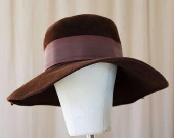 brown velvet floppy hat - M