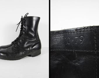 Vintage US Army Combat Boots 70s Black Leather Jungle Boot Ro-Search Soles - Size 9 R