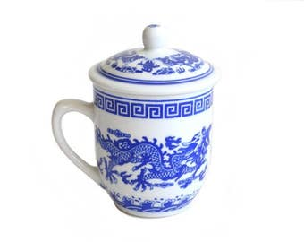 Vintage Asian Dragon Porcelain Mug With Top Blue And White