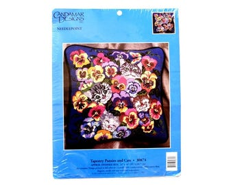 Candamar Designs Needlepoint Tapestry Pansies and Cats Vintage Kit No 30874 Kittens Cats Pillow Kit
