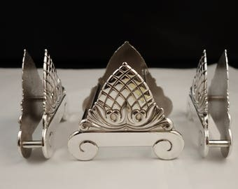 italian sheffield silver three 3 piece set...napkins buffet knives