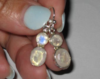 Rainbow Moonstone Gem Earrings 925 Sterling Silver Coven Witch Blessed Positive Life Changes Good Things Manifest Attract Prosperity Spells