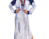 Shirt Dress, Long Sleeve White and blue Summer Dress, Shibori Tie Dye Dress : Shibori Collection (SI-015)