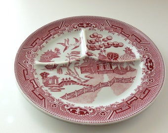 "RED Willow Divided Plate Grille Plate Grill plate Carr China 9 1/2"" Plate Red Transferware St. Louis Carr China Cafeteria Restaurant ware"