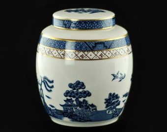 Vintage Blue Royal Doulton Booths Real Old Willow Lidded Ginger Jar with Gilt Accents