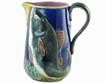Antique Majolica Leaping Fish Pitcher with Pink Interior and Figural Fish Handle