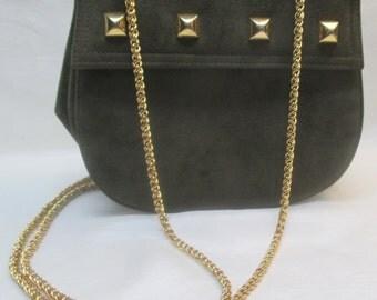 Vintage I. MAGNIN Olive Suede and Leather Cross Body Handbag