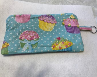 Cupcake Fun Fabric Zippered Pen and Pencil Pouch