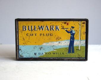 vintage original bulwark cut plug tobacco tin