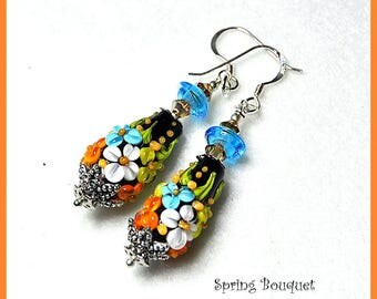 Black Earrings,Floral Earrings,Dangles,Flower Jewelry,Colorful Earrings,Woodland Earrings - COUNTRY GARDEN
