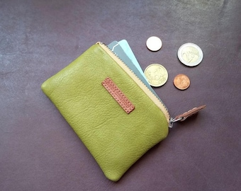 Leather coin purse /  moss green leather card wallet