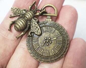 1 Metal Antique Bronze Bee Clock Charm/Pendant - 42mm