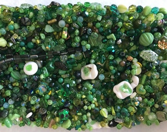 Green Vintage Czech Glass and Crystal Lot - 945 grams!