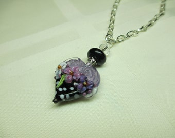 Lilac Heart Lampwork Bead Pendant Necklace With White Polka Dots 2