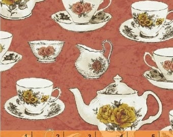 Afternoon Tea - Tea Cups Coral Pink by Whistler Studios from Windham Fabrics