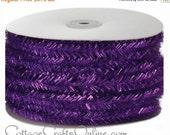 "EXTRA Savings CLEARANCE! Wired Ribbon Trim Purple Metallic Fringe Tinsel - TWENTY Four Yard Roll  - ""Tinsel Town"" Garland, Halloween, Mardi"
