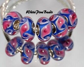 Handmade Murano Glass Bead Pink and Blue Swirl Fits European Bracelets White Pine Beads