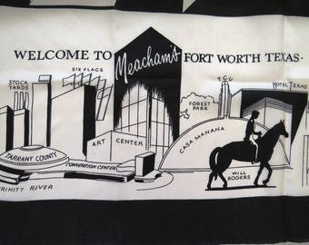 Vintage Fort Worth Texas City State Souvenir Scarf - Black and White Large Scarf Meachams Ft Worth TX - Tourist Attractions Landmarks - Gift