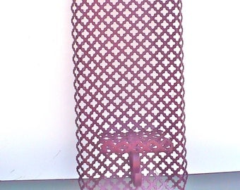 Long Punched Metal Wall Sconce Candle Holder Reddish Purple Century