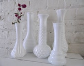 Vintage Milk Glass Bud Vases - Set Of 5