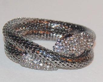 Vintage Snake Charmer Bracelet Silver Metal Mesh Two Coils Cleopatra Glamour