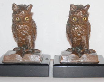 Owl Bookends Cast Iron Old Heavy Antique 1920's Sherlock Holmes Library Decor