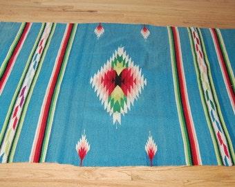 Mexican Handwoven Wool Rug Vintage Blanket Folk Art Saltillo Serape Cabin Decor 82 x 54
