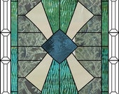 Custom listing for KM stained glass panel art deco 31 3/4 x 17 3/4