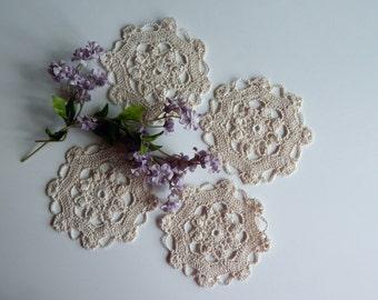 "Mini Crochet Doily - Natural Ecru - Lacy Off White Small Mini 5"" - Set of 4"