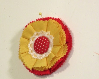 Yellow red flower fabric pin/brooch