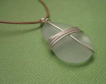 Leather Necklace with Pale Aquamarine Sea Glass, Wire-Wrapped Sea Glass Pendant