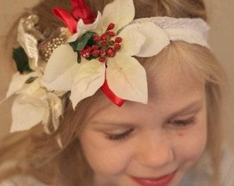 Christmas Floral Headband,Toddler headband,photo prop