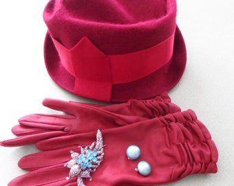 Hat 1950s Day hat maroon