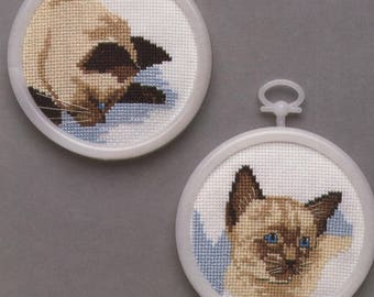 SIAMESE KITTENS Counted Cross-Stitch Kit with Frames