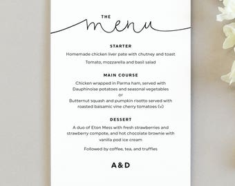 Kate wedding menu cards