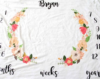 Customized Name Month Blanket, Photography Prop, Month Tracking Swaddle, Lightweight blanket, newborn preemie, unisex baby boy baby girl