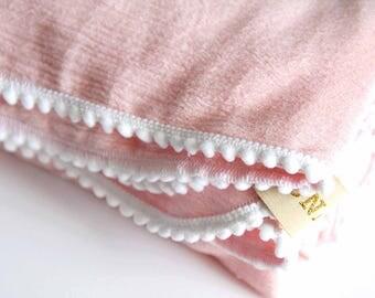 The Delilah Pom Pom Gauze Swaddle, Lightweight blanket, newborn preemie, baby girl, indie boho baby swaddle blanket
