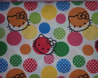 Hello kitty licensed by Sanrio white background with hello kitty and polka dots rare oop