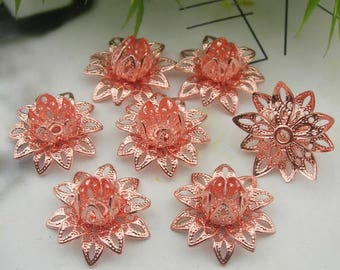 8 pcs Rose Gold Rose Filigree Charms,16mm